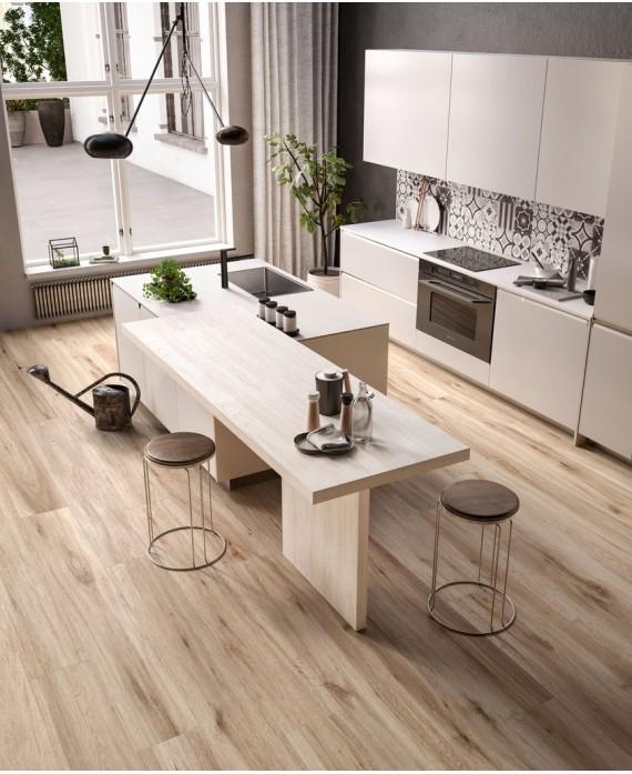 Carrelage imitation parquet clair moderne miel, cuisine, grande longueur 30x180cm rectifié, santabwood honey