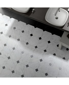 Carrelage octogone marbre blanc 20x20cm avec cabochon marbre noir ou blanc 4.6x4.6cm, equipoctogomarmol blanc