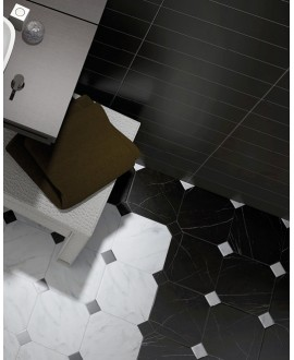 Carrelage octogone imitation marbre noir 20x20cm avec cabochon marbre blanc ou noir 4.6x4.6cm, equipoctogomarmol noir