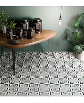 Carrelage décor imitation carreau ciment moderne vert et noir 20x20cm rectifié, santafun summer1, R10