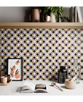 Carrelage décor imitation carreau ciment contemporain cuisine 20x20cm rectifié, santafun joy2, R10