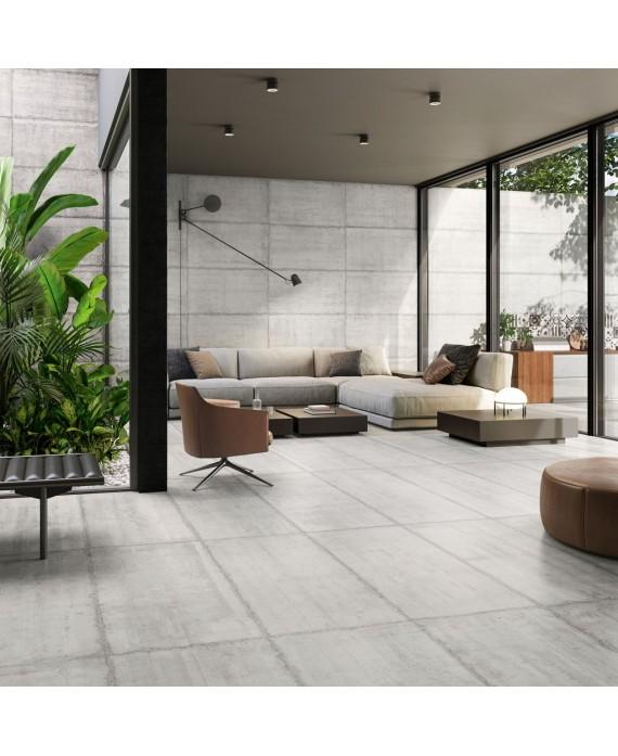 Carrelage imitation béton brut mat salle de bain, rectifié, Santaform ciment