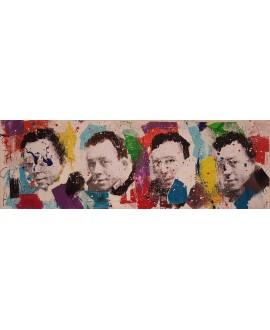 Peinture contemporaine, tableau moderne figuratif, pop art, acrylique et collage sur toile 50x150cm intitulée: Camus2