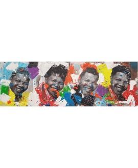 Peinture contemporaine, tableau moderne figuratif, pop art, acrylique et collage sur toile 50x150cm intitulée: Mandela3