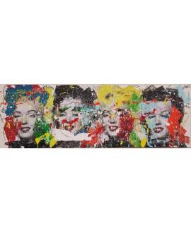 Peinture contemporaine, tableau moderne figuratif, pop art, acrylique et collage sur toile 50x150cm intitulée: Marylin2