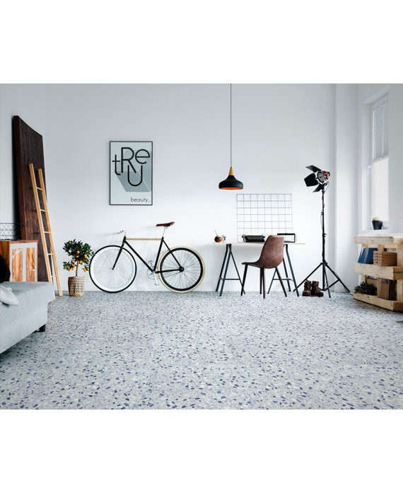 carrelage effet terrazzo et granito mat, chambre, 60x60 cm rectifié,  marmette jeans