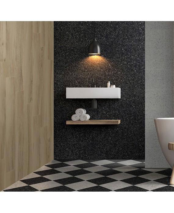carrelage effet terrazzo et granito mat 60x60 cm rectifié,  marmette noir