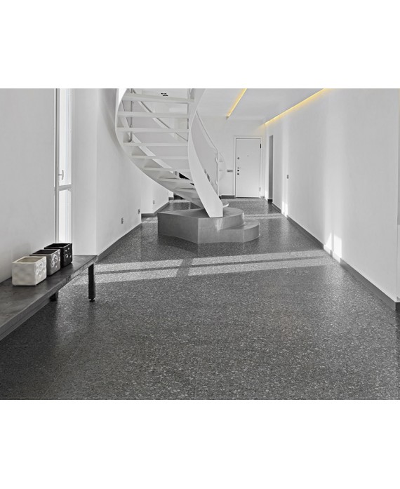 Carrelage imitation terrazzo et granito mat 60x60 cm rectifié, marmette antracite