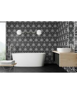 Carrelage hexagone tomette décor effet carreau ciment 28.5x33cm realosaka noir