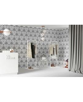 Carrelage hexagone tomette décor effet carreau ciment 28.5x33cm realosaka blanc
