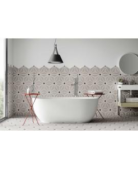 Carrelage hexagone tomette décor effet carreau ciment 28.5x33cm realosaka gris