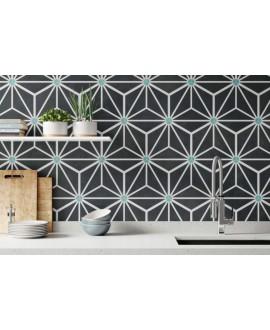 Carrelage hexagone tomette décor effet carreau ciment 28.5x33cm realosaka charcoal