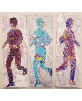 Peinture contemporaine, tableau moderne figuratif, acrylique sur toile, triptyque, intitulé: jogging en bleu 3 fois 40x120cm.