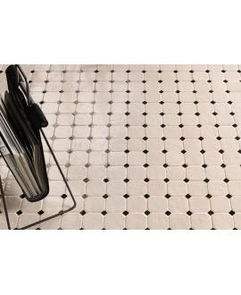 Mosaique de carrelage octogonal en grès cérame émaillé brillant 8x8cm avec cabochon noir mat, natmare