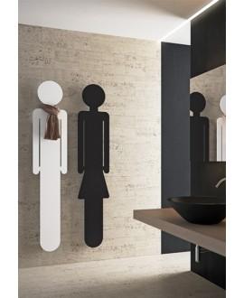 Sèche-serviette radiateur eau chaude design Antoreste silhouette homme blanc mat 172x34cm
