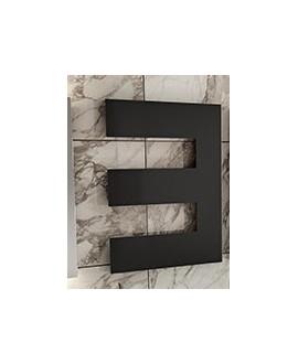 Sèche-serviette radiateur eau chaude contemporain design, Antpetine droit noir mat 68.5x55cm