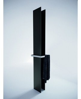 Sèche-serviette radiateur eau chaude contemporain design noir mat 170x14.1cm anttower