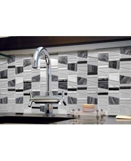 Mosaique crédence cuisine, salle de bain pierre métal et verre mosasi gris 30x31.5 cm