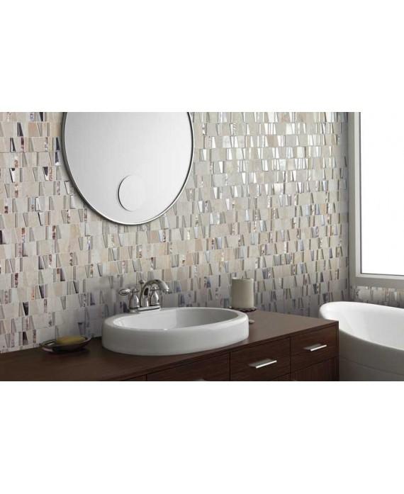 Mosaique salle de bain, crédence cuisine pierre métal et verre mosasi beige 30x31.5 cm