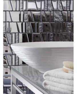 Mosaique salle de bains, crédence cuisine métal mosasi inox 30x31.5 cm
