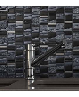 Mosaique salle de bain, cuisine pierre métal et verre mosasi noir 30x31.5 cm