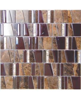 mosaique salle de bain, cuisine pierre métal et verre mosasi imperial 30x31.5 cm