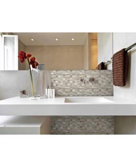 mosaique pierre métal et verre salle de bain, crédence de cuisine mocity beige 30x30cm sur trame