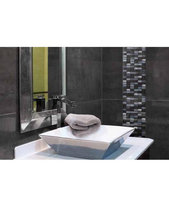 mosaique pierre métal et verre crédence de cuisine et salle de bain mocity noir 30x30cm sur trame