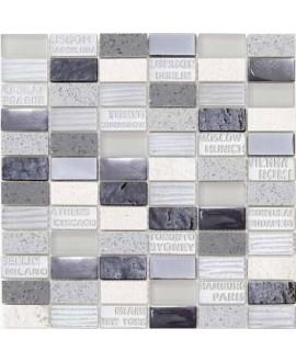 mosaique pierre métal verre mocity gris 30x30.3 cm
