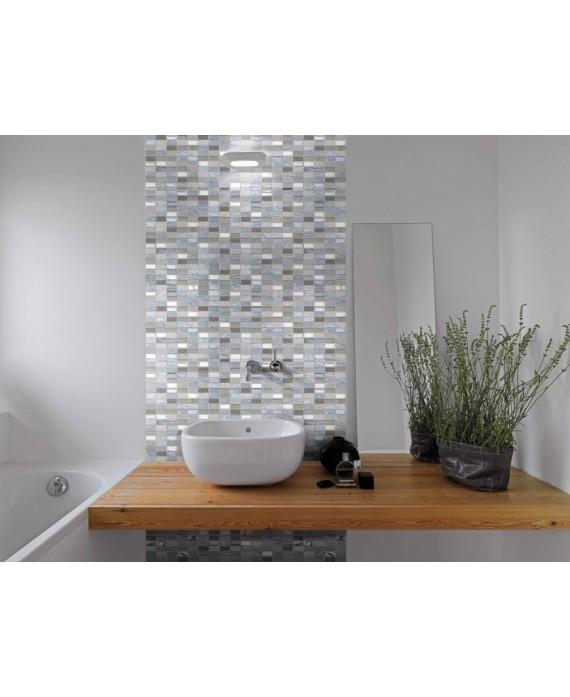 mosaique pierre métal verre salle de bain, crédence de cuisine mocity gris 30x30cm sur trame