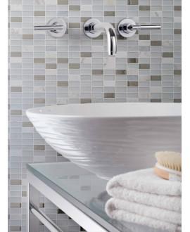 mosaique pierre métal verre , salle de bain, cuisine mocity blanc 30x30cm sur trame