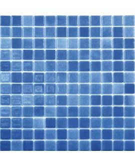 Emaux de verre bleu soutenu nuancé piscine mosaique salle de bain mosbr-2005 2.5x2.5cm antidérapant sur trame.