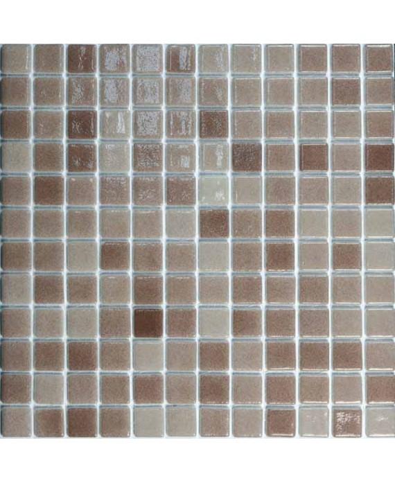 Emaux de verre sur trame brun nuancé pour les marche de la piscine mosbr-5002 antidérapant 2.5x2.5cm
