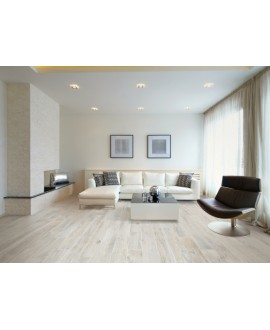 Carrelage imitation parquet chene ancien blanc, avec noeuds, salle à manger, 15,3x100cm, samory bianco