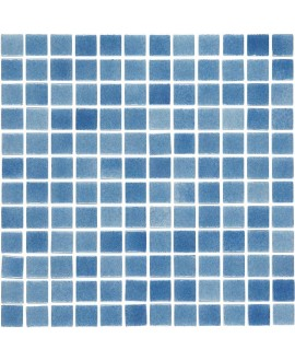 Emaux de verre piscine bleu nuancé mosaique salle de bain mosbr-2001 antidérapant 2.5x2.5cm sur trame