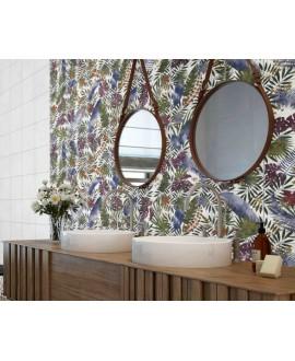 Carrelage imitation carreau ciment décor feuilles 25x25x0.9cm, D tahiti