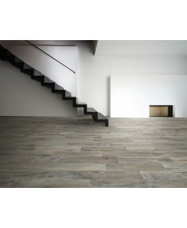 Carrelage imitation vieux parquet chêne gris avec noeuds, sol et mur, 15,3x100cm, samory grigio
