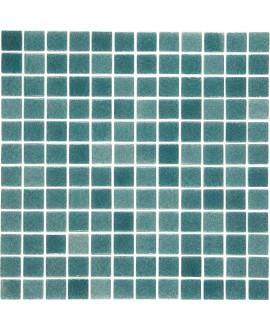 Emaux de verre piscine mosaique salle de bain vert foncé mosbr-3003 antidérapant 2.5x2.5x0.4cm sur trame.