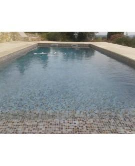 Emaux de verre trois couleurs piscine mosaique salle de bain moscombi-7 2.5x2.5cm sur trame.