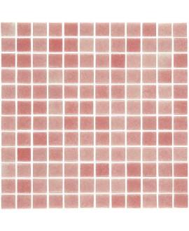 Emaux de verre rose nuancé piscine mosaique salle de bain mosbr-6002 2.5x2.5x0.4cm sur trame.