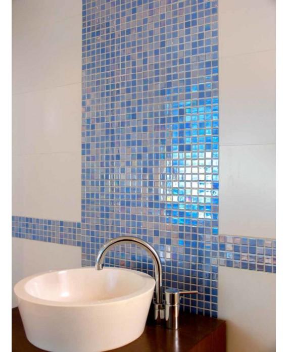 Emaux de verre piscine mosaique salle de bain bleu effet métal acquaris celeste 2.5x2.5 cm