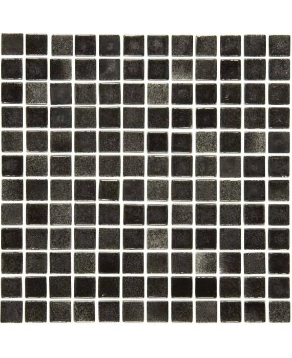 Emaux de verre noir nuancé pour les marches de la piscine mosbr-9001 antidérapant 2.5x2.5x0.4cm sur trame.