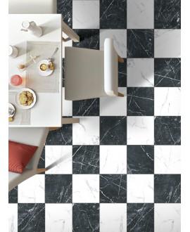 Carrelage imitation marbre blanc carrare satiné 25x25cm D