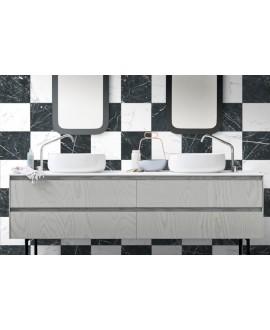 Carrelage imitation marbre noir satiné 25x25cm D