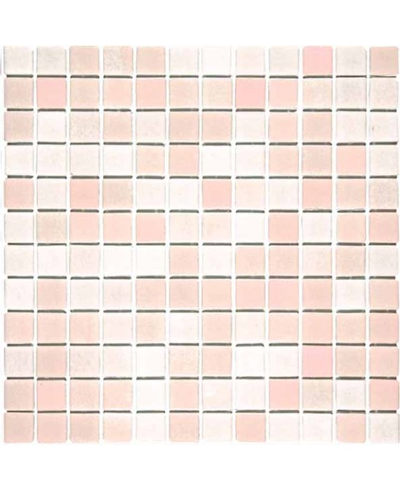 Emaux de verre antidérapant mélange de rose piscine mosaique salle de bain combi-9 2.5x2.5cm sur trame.
