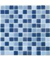 Emaux de verre piscine bleus mélangés mosaique salle de bain moscombi-1 2.5x2.5cm sur trame.