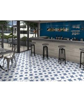 Carrelage imitation carreau ciment contemporain 25x25cm, D stella bleu