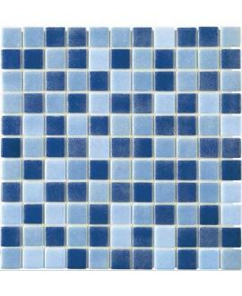Emaux de verre mélange de bleu antidérapant pour les marches de la piscine salle de bain moscombi-1 2.5x2.5cm sur trame.