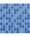 Emaux de verre antiderapant bleu mélangé pour le sol de la salle de bain piscine mosaique moscombi-2 2.5x2.5cm sur trame.