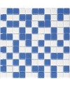 Emaux de verre bleu et blanc piscine mosaique salle de bain combi-3 2.5x2.5cm sur trame.
